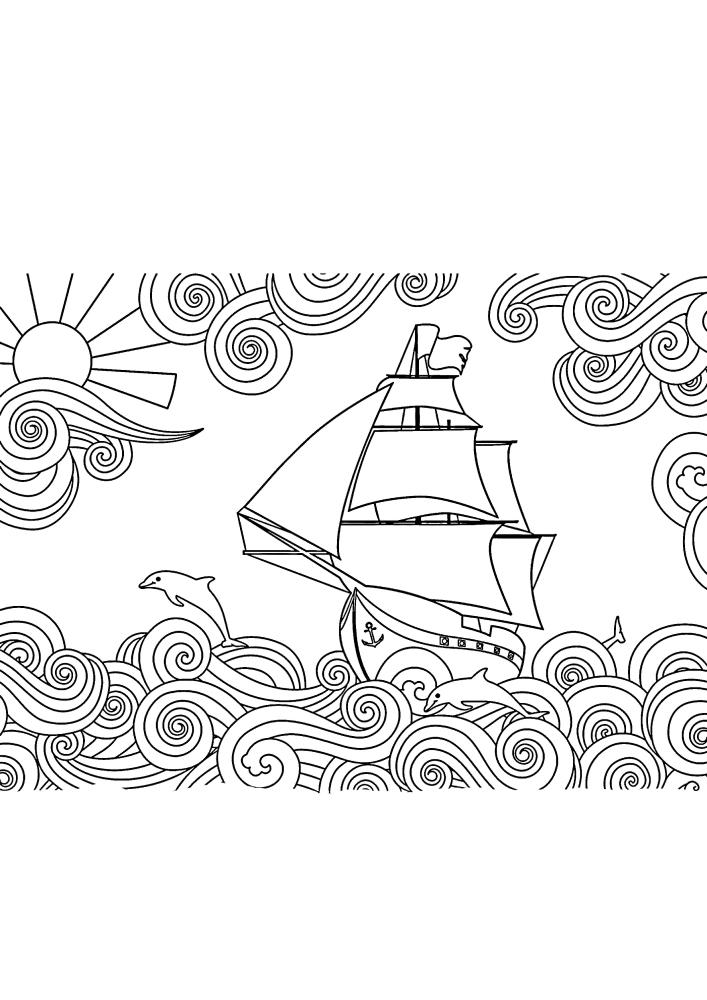 Корабль мчится по волнам - раскраска для выплеска эмоций