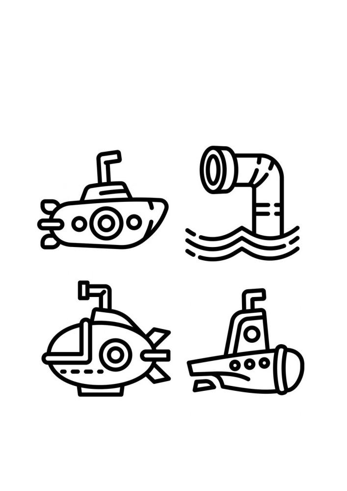 Значки подводных лодок - раскраска