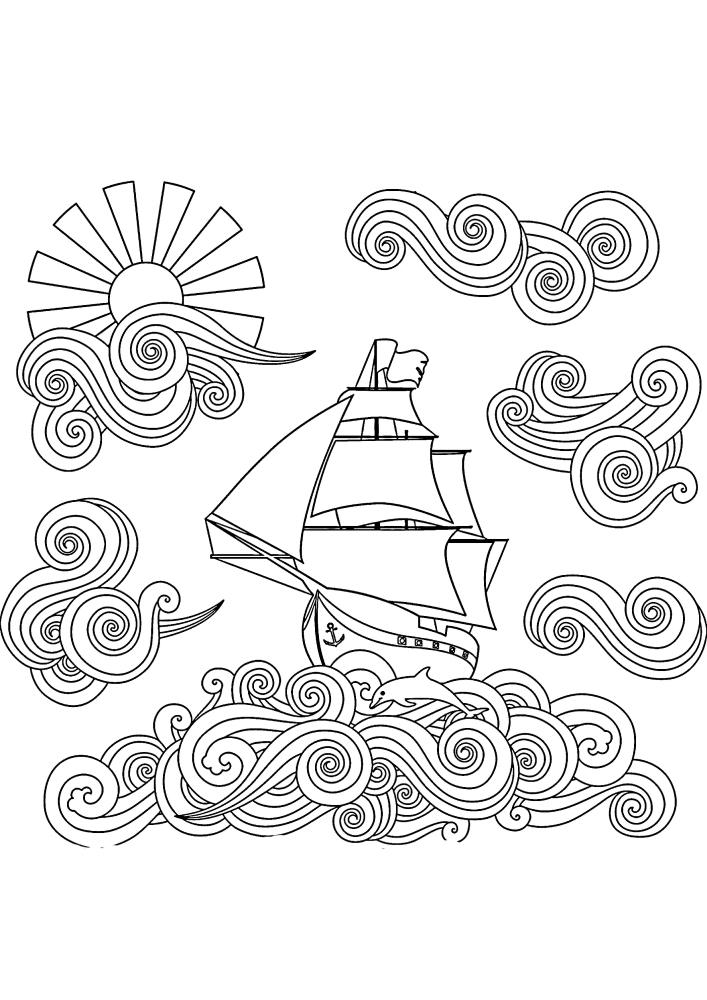 Сложная в рисовке картинка плывущего судна