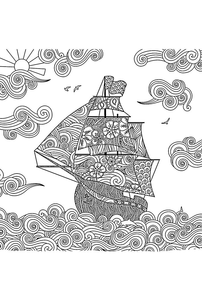 Сложная антистресс раскраска корабля