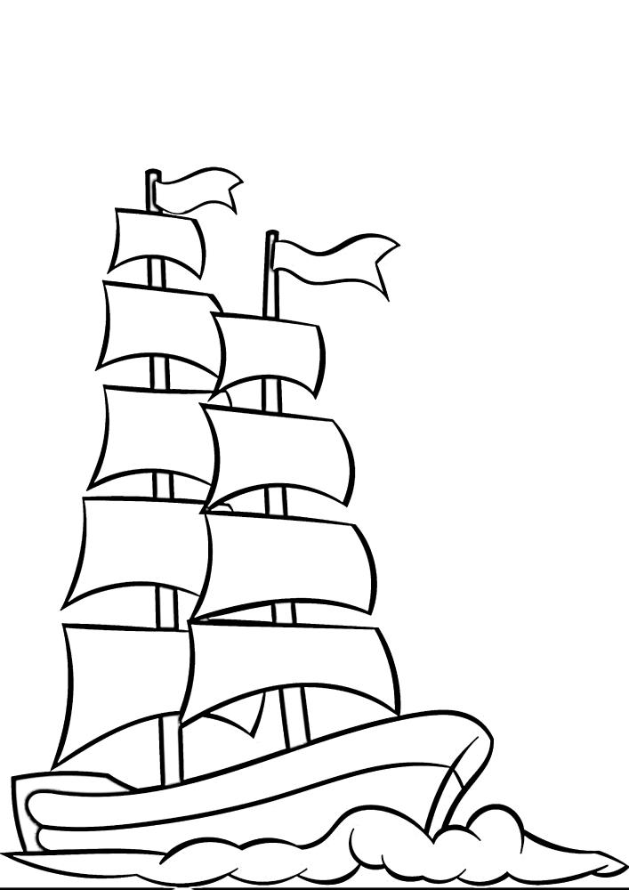 Большое судно плывёт по волнам