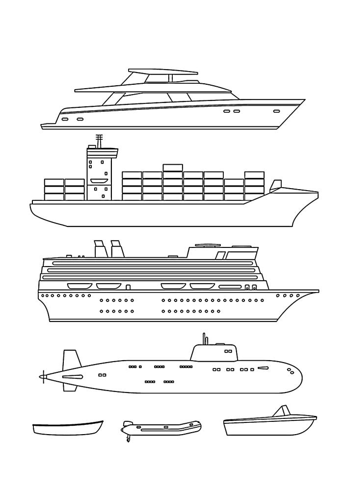 Крейсеры, лайнеры, яхты, подводные лодки - всё это есть в одном изображении