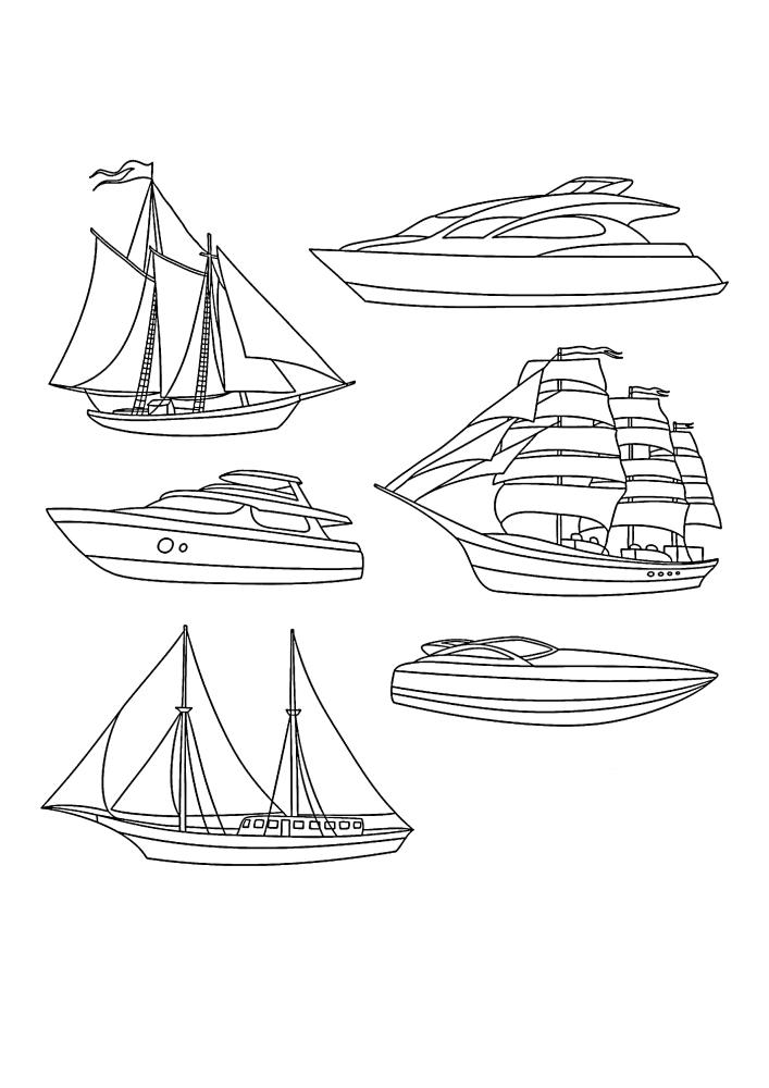 Яхты и лодки - раскраска