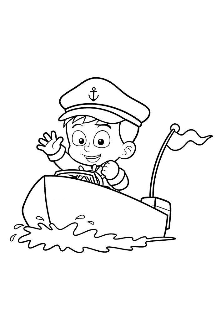 Маленький моряк приветствует Вас в этом наборе с раскрасками кораблей