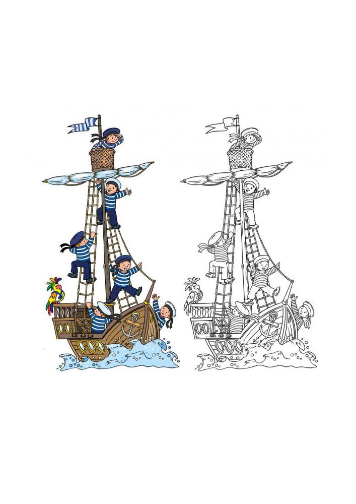 Матросы поднимают паруса - цветная и чёрно-белая картинки в одном изображении