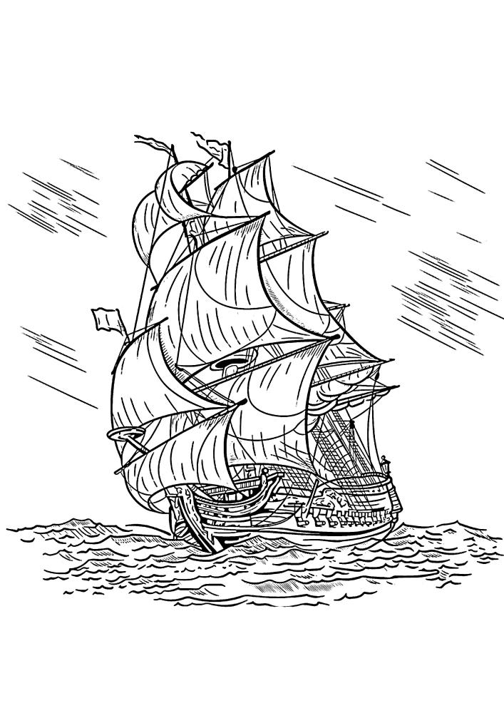 Корабль плывёт сквозь шторм