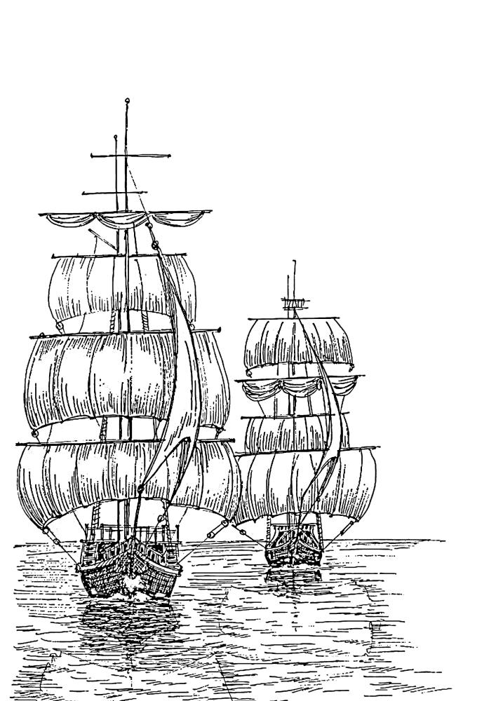 Два корабля приближаются к причалу