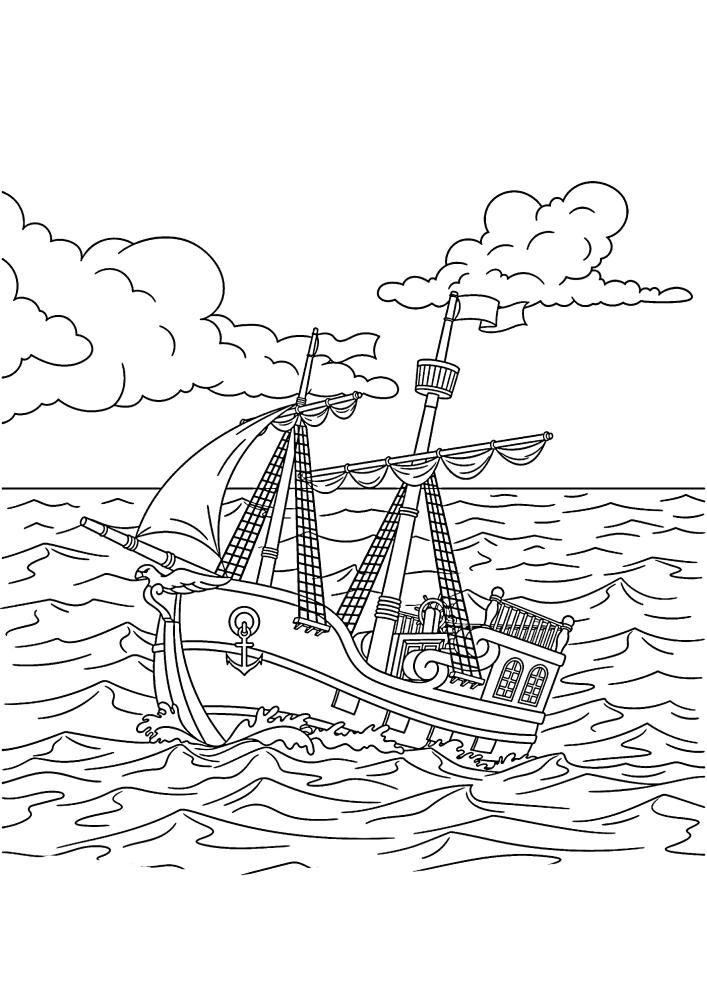 Маленькое судно преодолевает большие волны