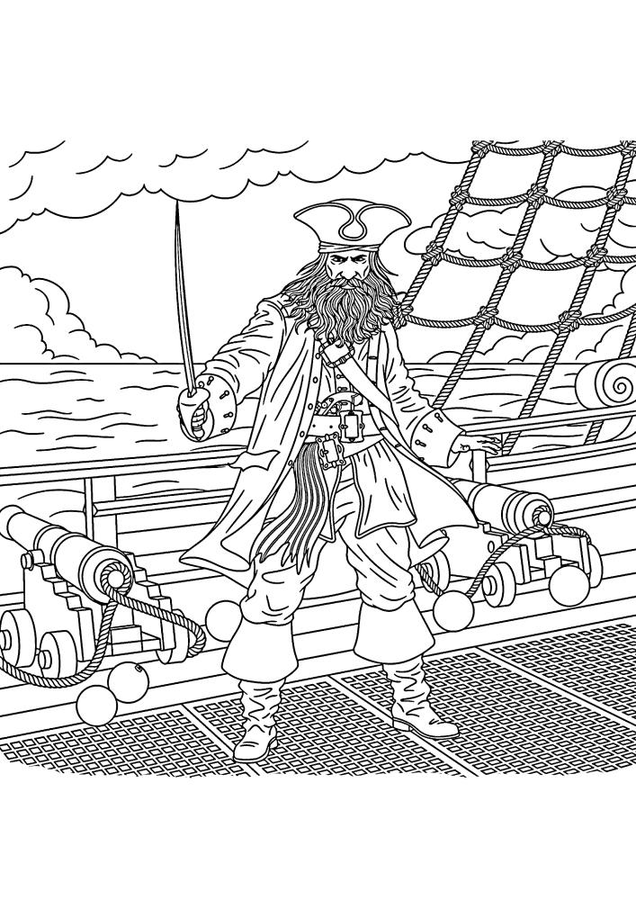 Пират стоит на палубе