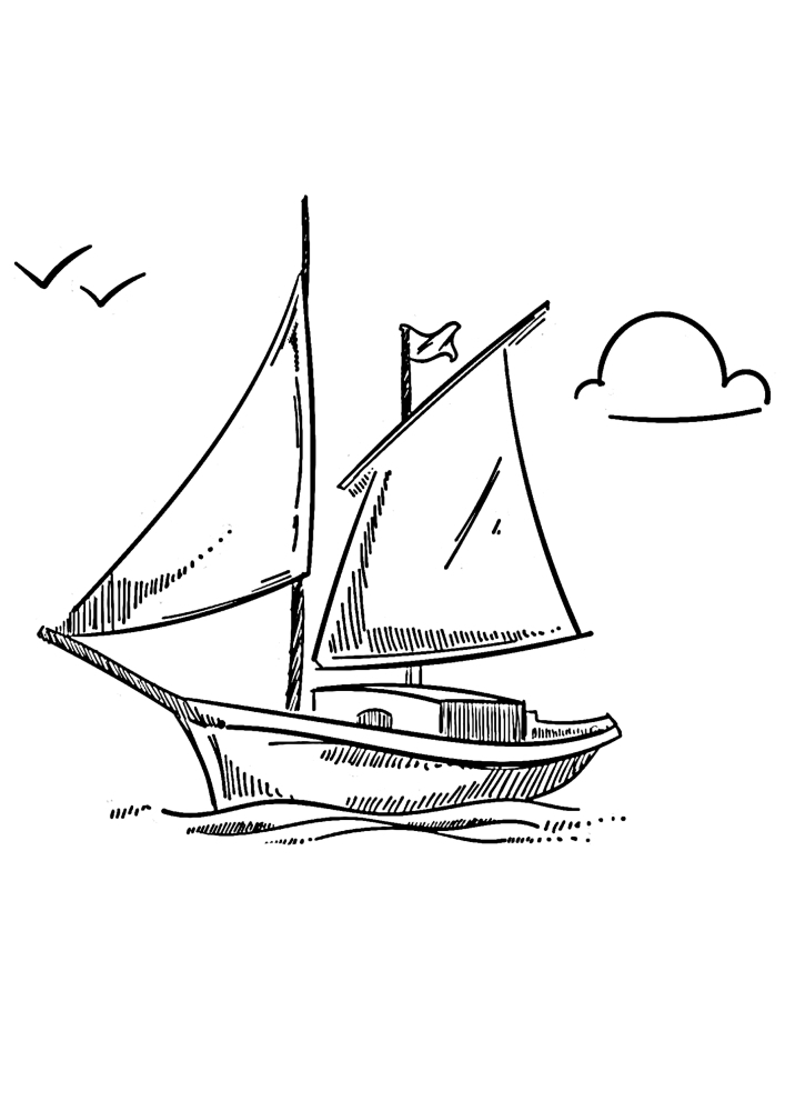 Чайка кружат над маленьким судном