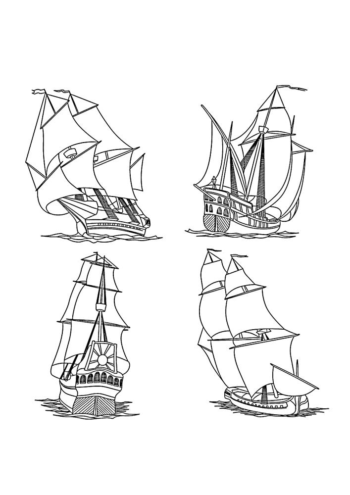 Четыре изображения корабля в разных наклонах