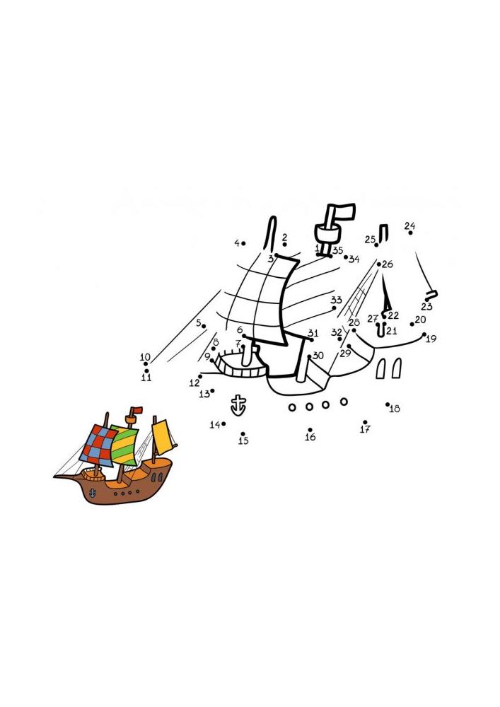 Корабль - раскраска по точкам