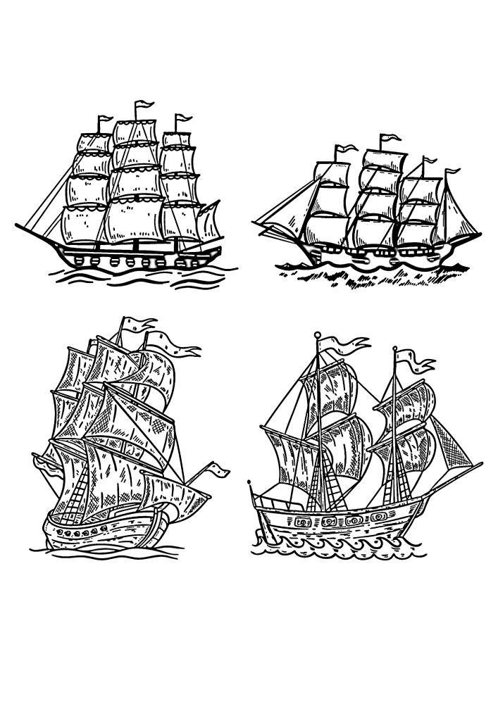 Четыре изображения кораблей
