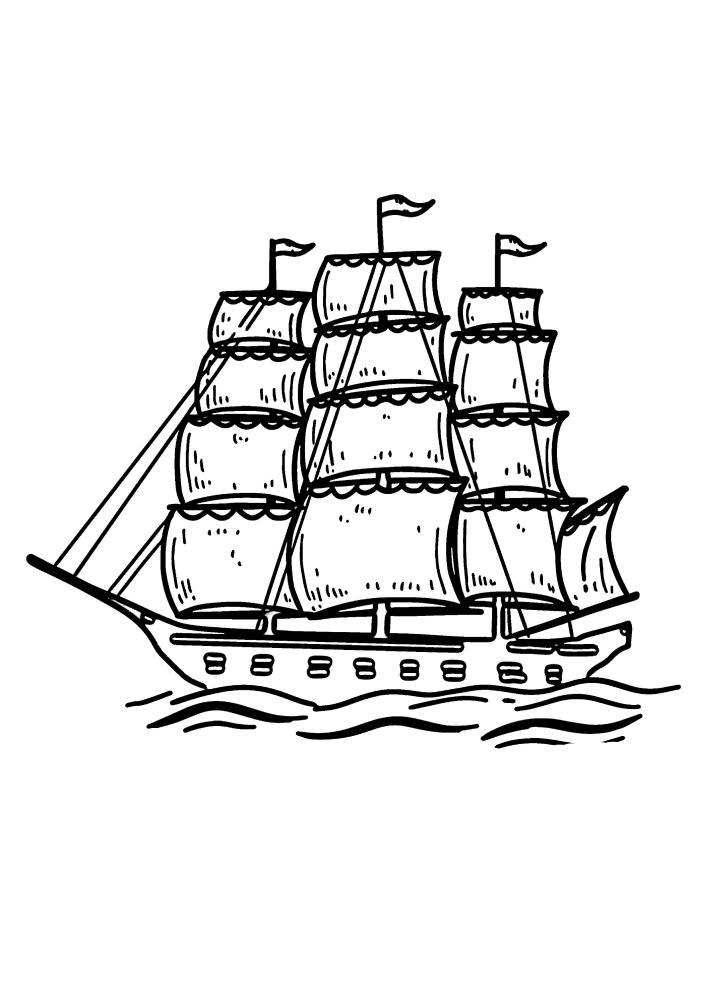 Корабль с тремя мачтами