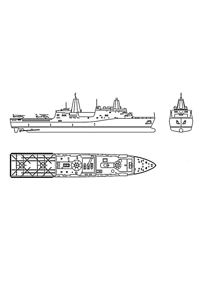 Военное судно - вид со всех сторон