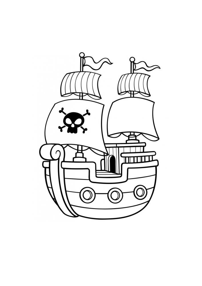Пиратский корабль - раскраска для малышей