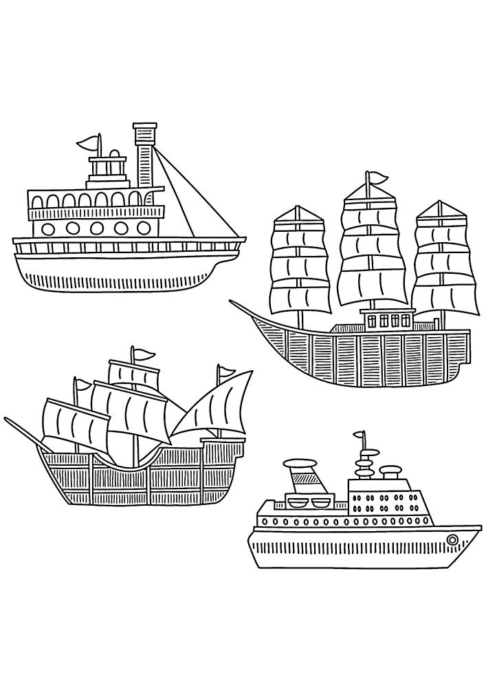 4 морских судна