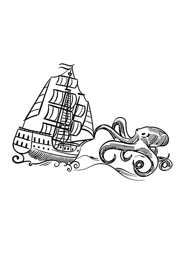 Кракен пытается потопить большой корабль