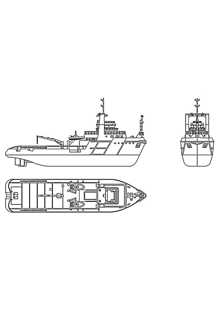 Большой корабль, перевозящий контейнеры, - вид с 3 сторон
