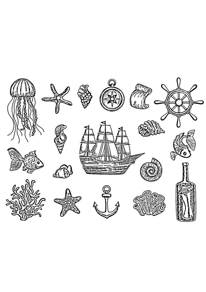 Морская раскраска
