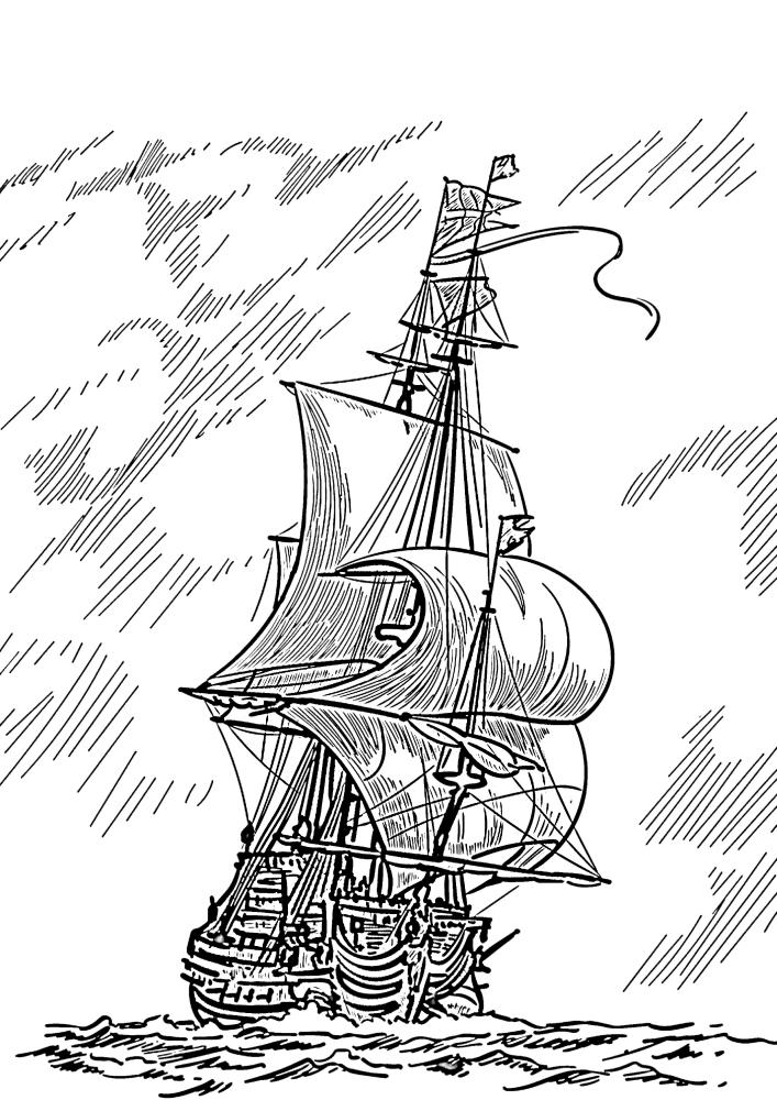 Корабль плывёт к цели, несмотря на дождь