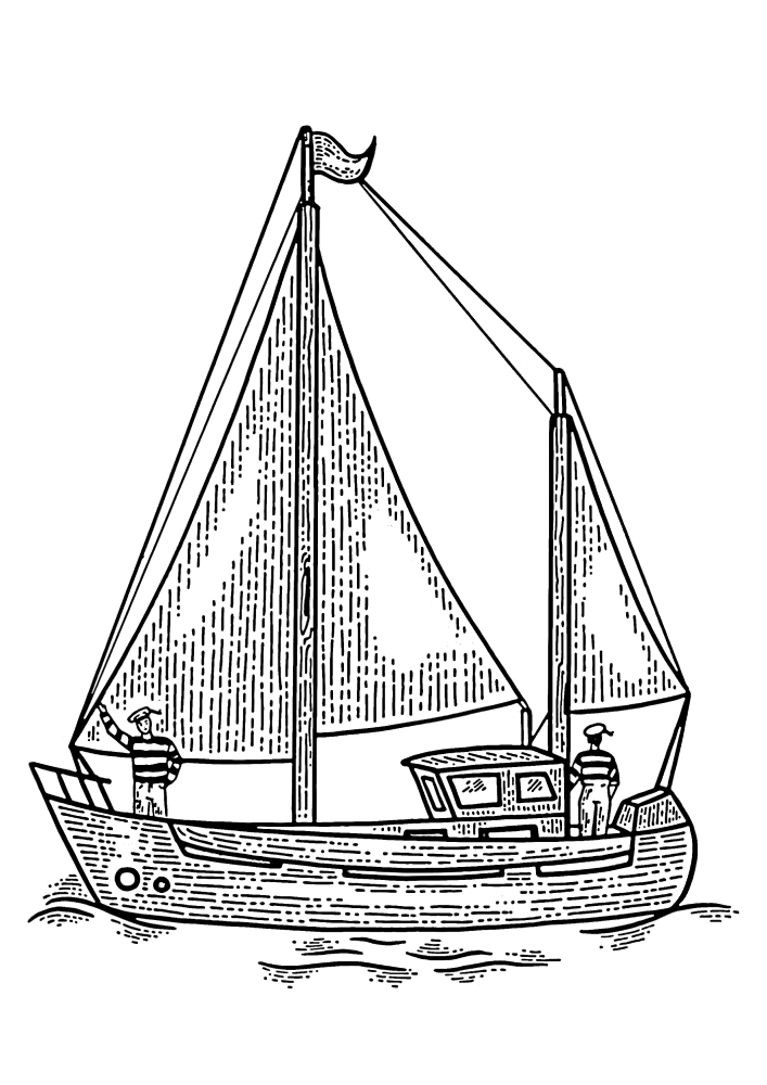 Два моряка на небольшом деревянном судне