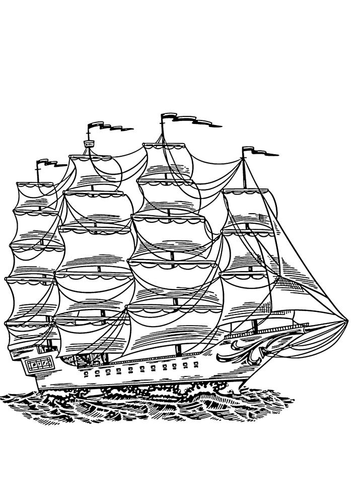 Огромнейший старинный корабль