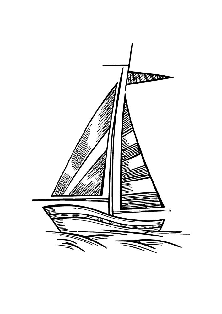 Маленький корабль - раскраска для детей