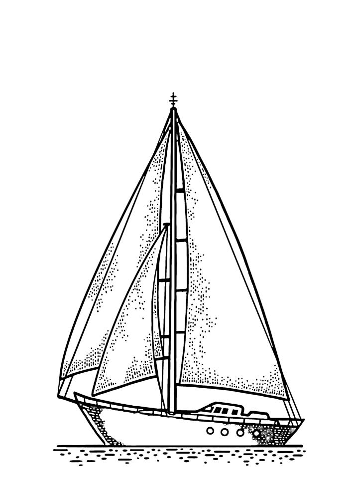 Плывущая яхта
