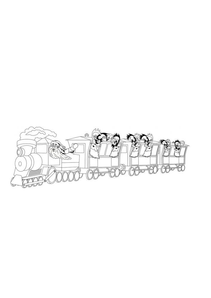 Санта едет на поезде со своими помощниками дарить подарки!