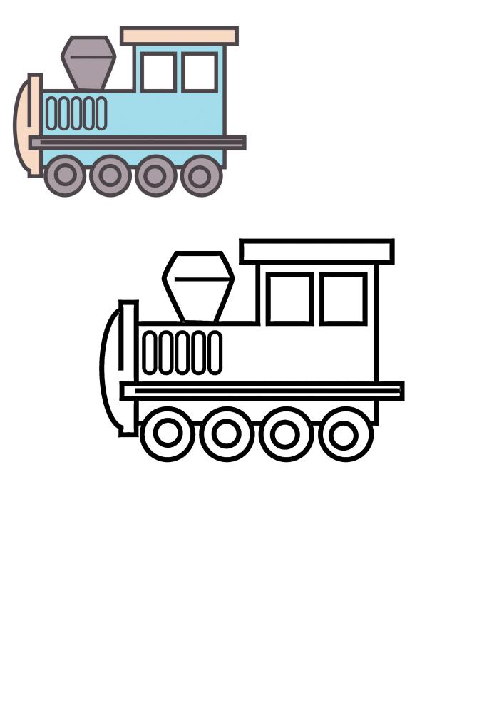 Раскраска поезда для детей - раскраска вместе с цветным образцом