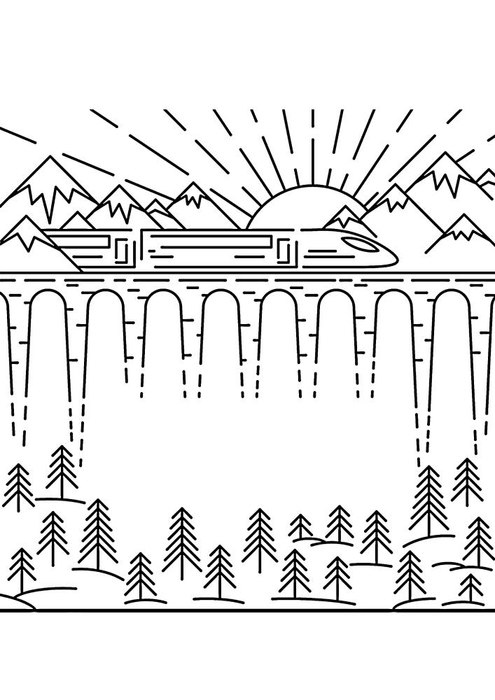Поезд в горах - красивая раскраска