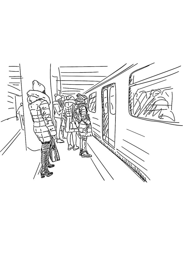 Люди садятся в поезд - раскраска