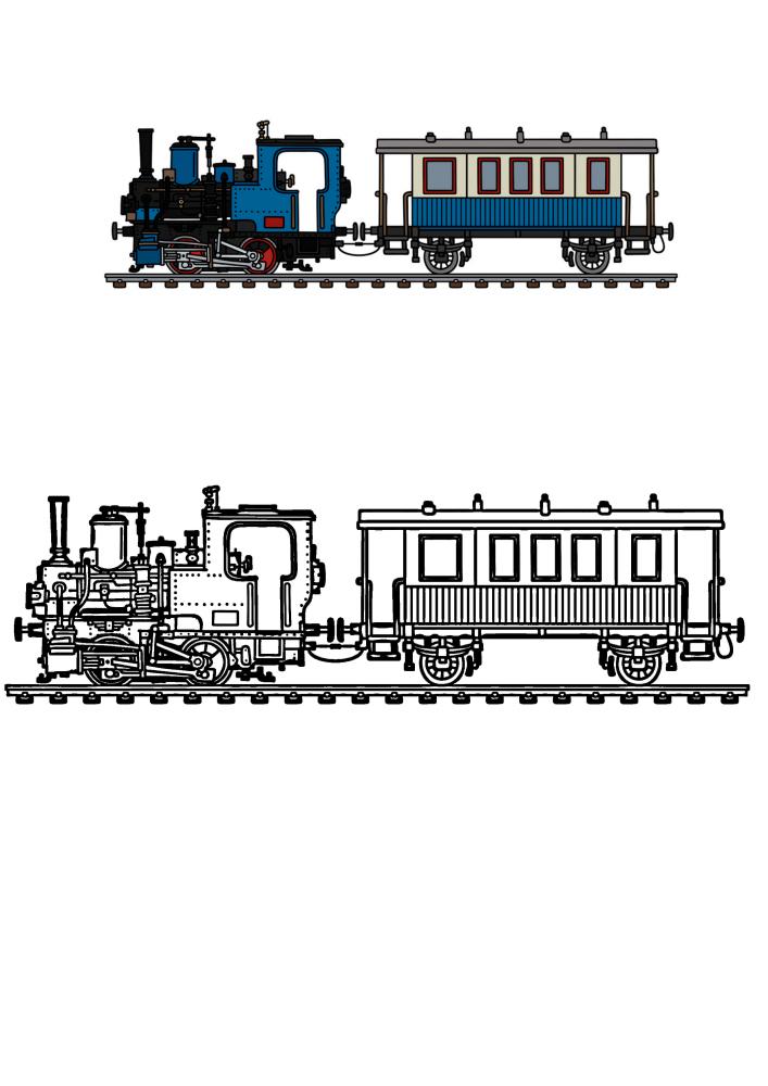 Детализированная раскраска поезда с образцом разукрашивания