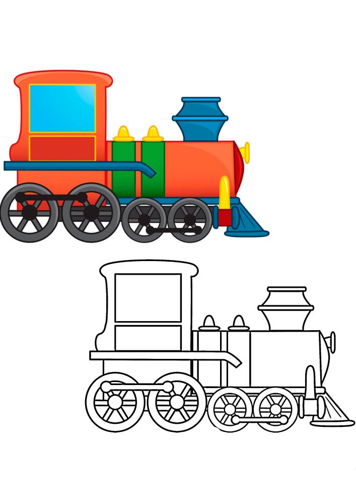 Детская раскраска паровоза с образцом разукрашивания
