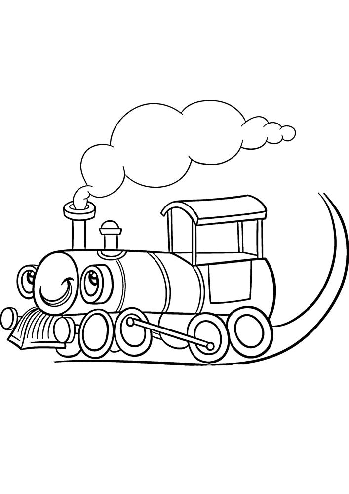 Милый поезд с глазами - раскраска для детей