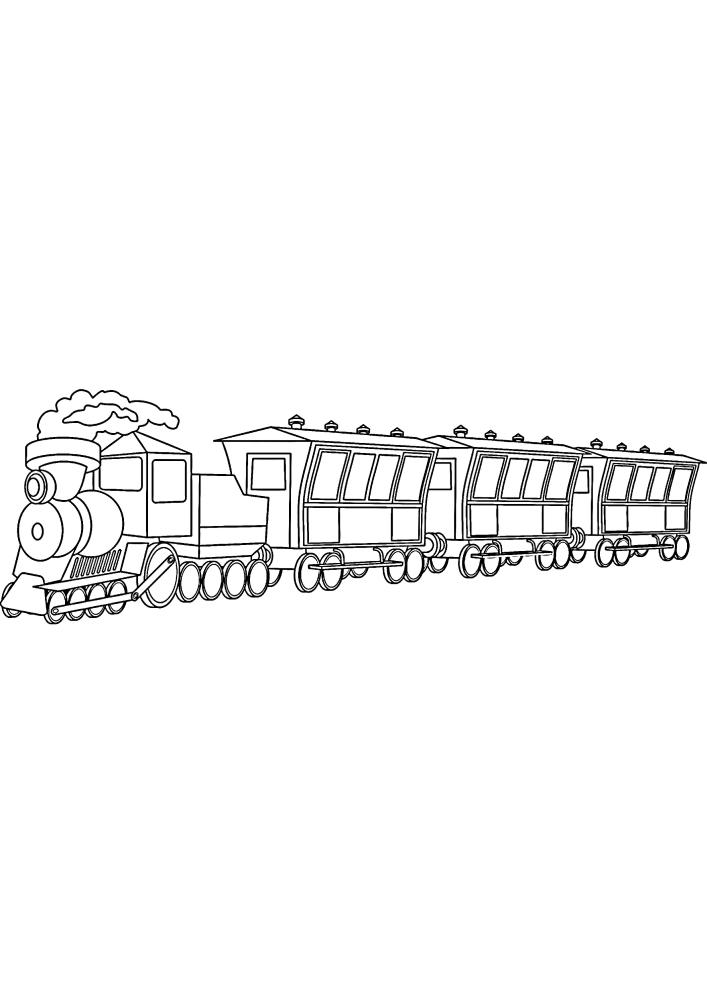 Поезд с вагонами - раскраска для детей