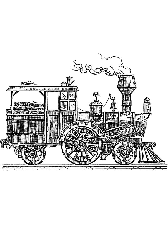 Сложная раскраска поезда - изображение для взрослых
