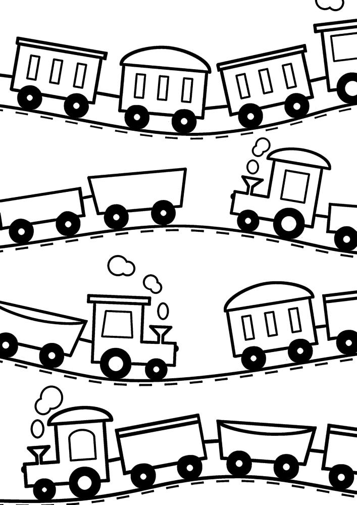 Раскраска поездов с вагонами для малышей