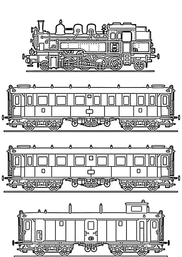Поезд и 3 разных вагона