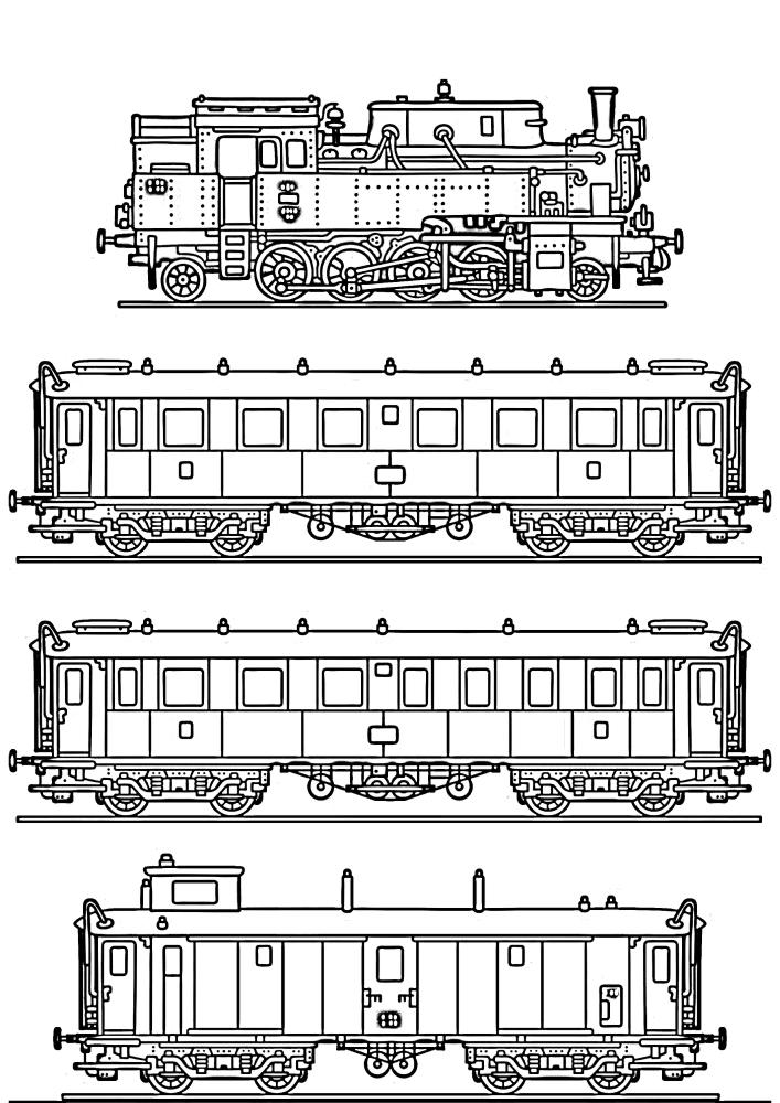 Ещё одна раскраска с поездом и 3 вагонами