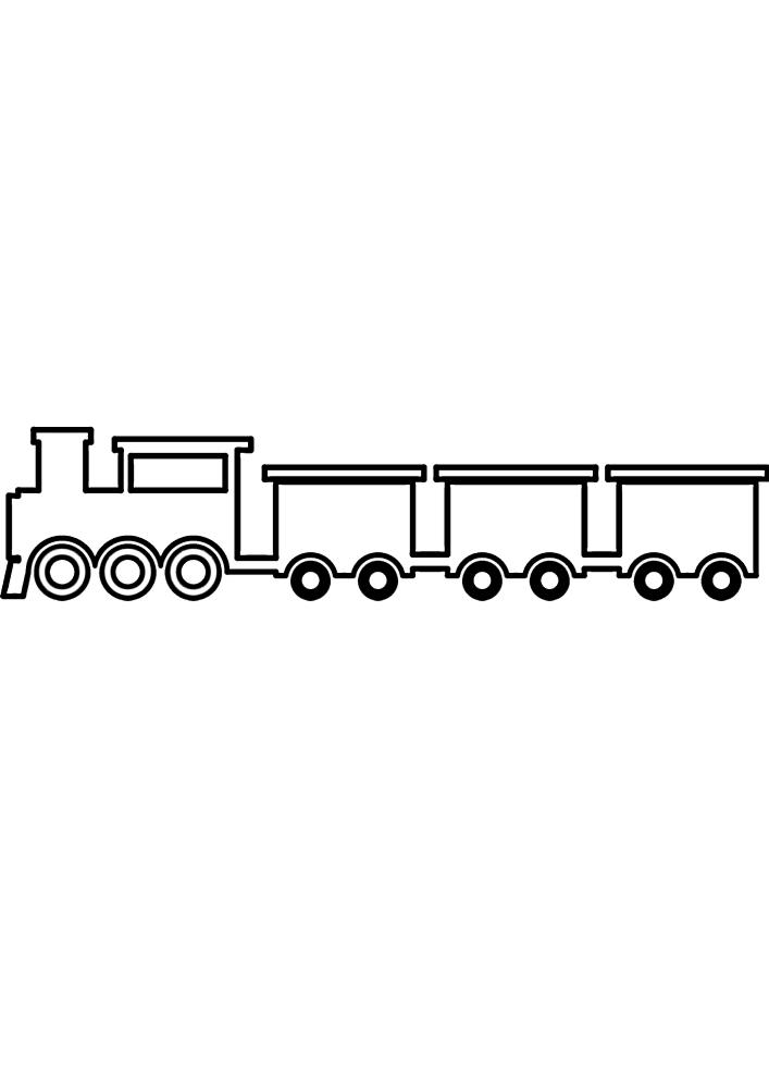 Раскраска поезда для малышей 3 лет
