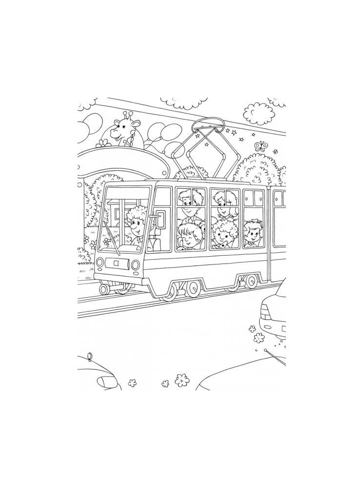 Трамвай - раскраска для детей