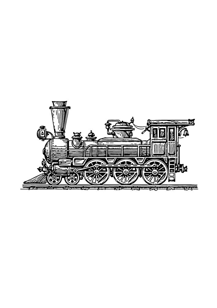 Поезд на рельсах - чёрно-белое изображение