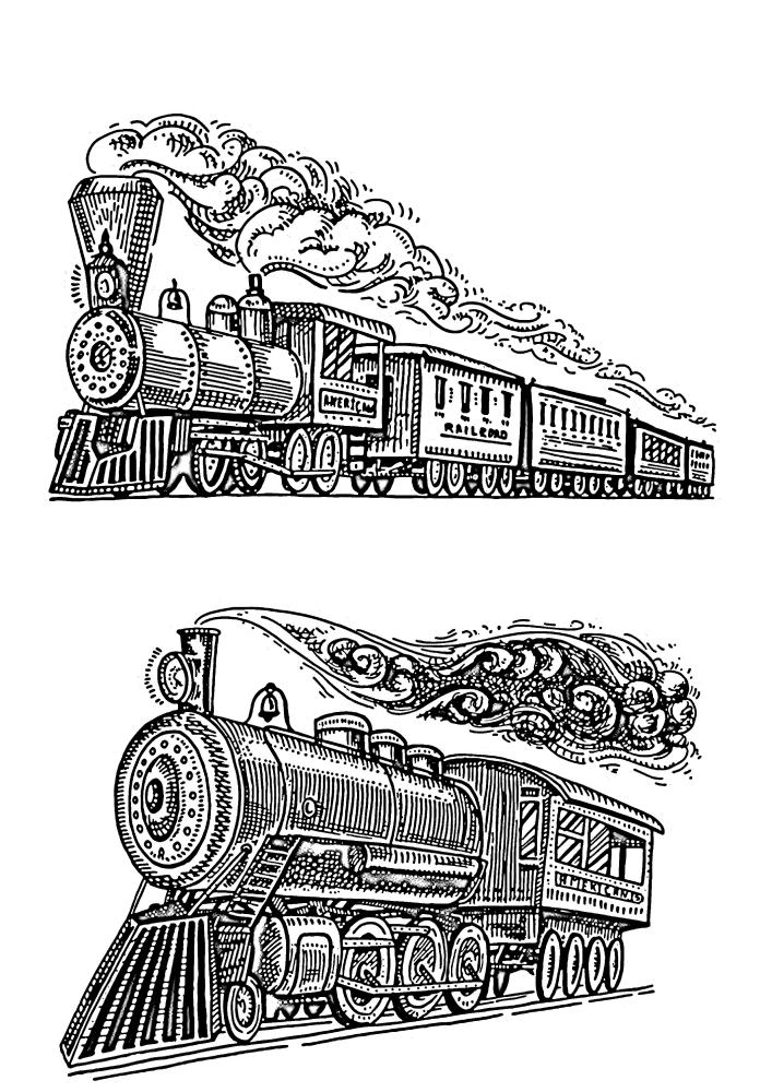Два разных поезда, пускающих большое количество пара