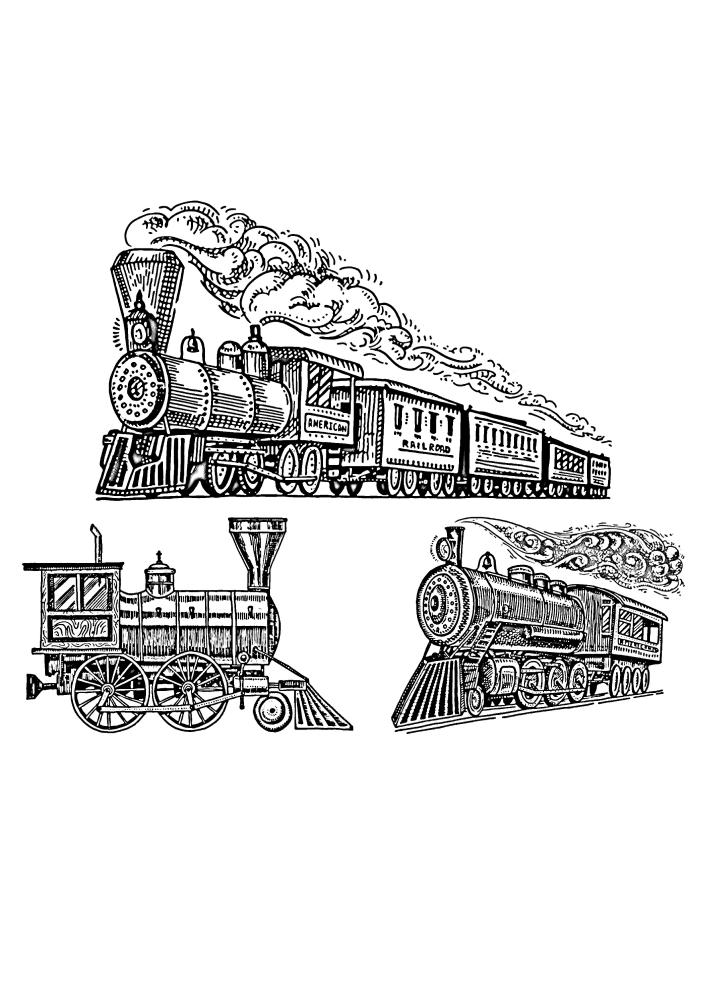 Разные поезда в одной изображении - сложная раскраска