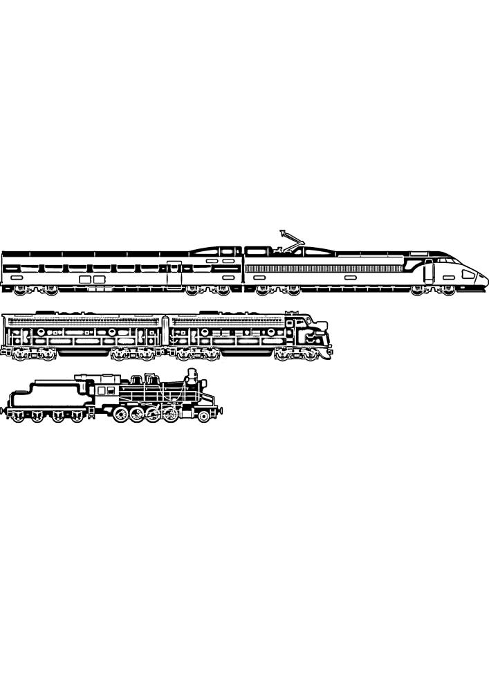 Сверху находится современный поезд, а снизу старые образцы.