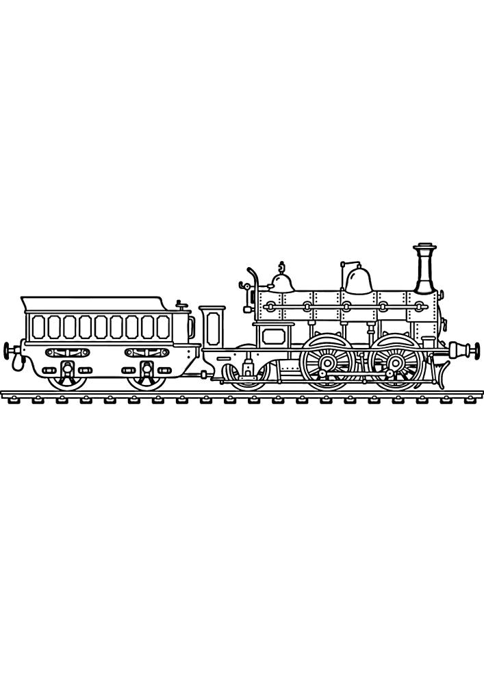 Поезд везёт старинный вагон с людьми