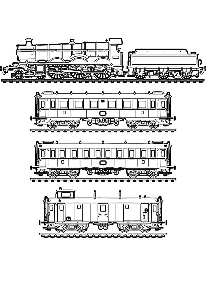 Поезд и вагоны - всё можно разукрасить в разный цвет, проявив фантазию