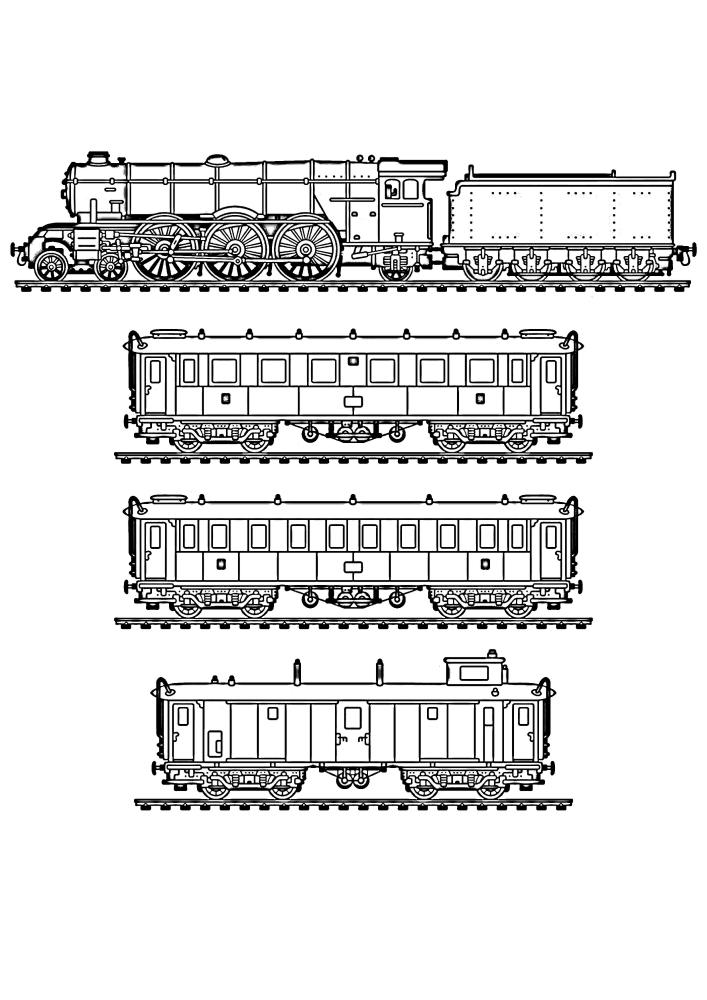 Ещё один вариант чёрно-белого изображения с вагонами и поездом